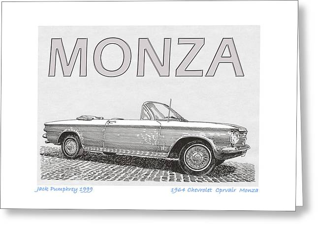 Station Wagon Drawings Greeting Cards - 1964 Corvair Monza Spyder Greeting Card by Jack Pumphrey