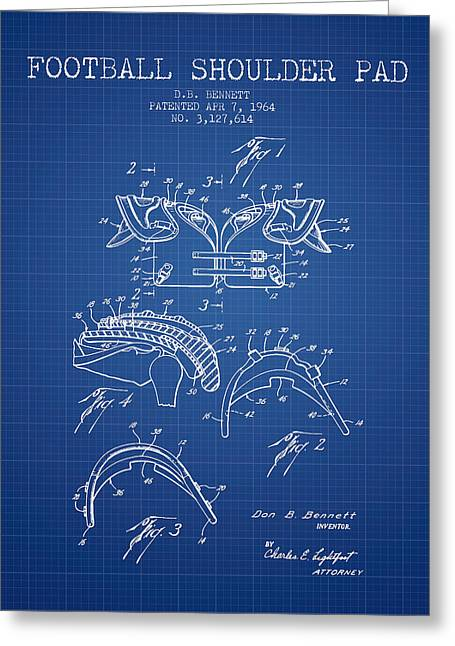 American Football Art Drawings Greeting Cards - 1964 Football Shoulder Pad Patent - Blueprint Greeting Card by Aged Pixel