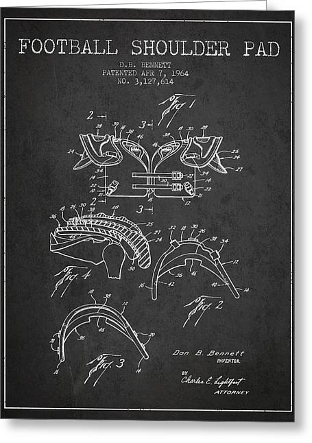 Player Drawings Greeting Cards - 1964 Football Shoulder Pad Patent - Charcoal Greeting Card by Aged Pixel