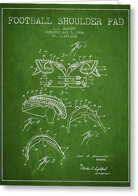 Player Digital Art Greeting Cards - 1964 Football Shoulder Pad Patent - Green Greeting Card by Aged Pixel