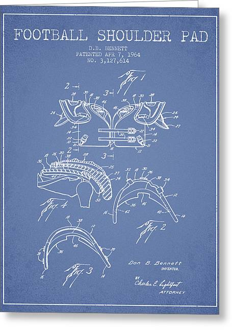 Player Drawings Greeting Cards - 1964 Football Shoulder Pad Patent - Light Blue Greeting Card by Aged Pixel