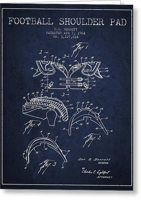 National Drawings Greeting Cards - 1964 Football Shoulder Pad Patent - Navy Blue Greeting Card by Aged Pixel