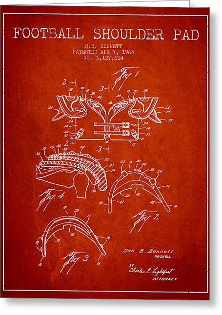 American Football Art Drawings Greeting Cards - 1964 Football Shoulder Pad Patent - Red Greeting Card by Aged Pixel