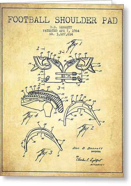 American Football Art Drawings Greeting Cards - 1964 Football Shoulder Pad Patent - Vintage Greeting Card by Aged Pixel