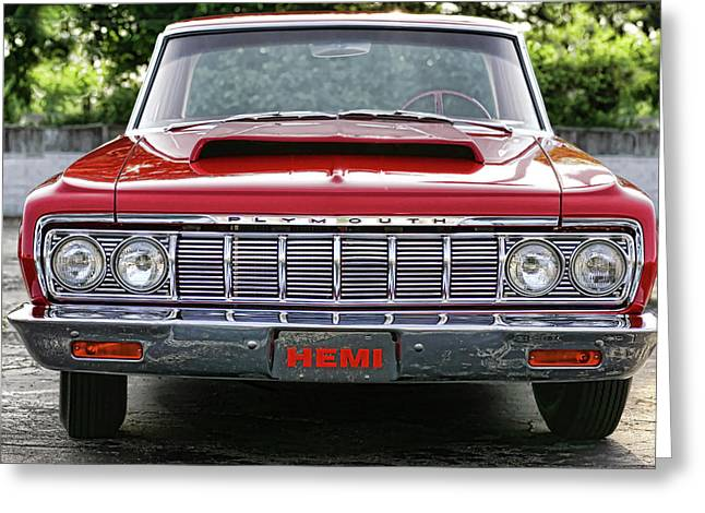 1969 Dodge Charger Stock Car Greeting Cards - 1964 Plymouth Savoy Hemi  Greeting Card by Gordon Dean II