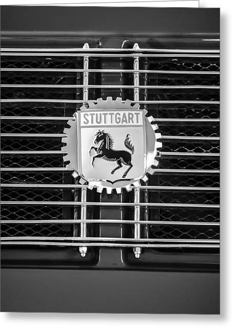 Stuttgart Greeting Cards - 1964 Porsche 911 Stuttgart Emblem -0319bw Greeting Card by Jill Reger