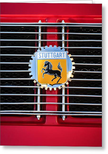 Stuttgart Greeting Cards - 1964 Porsche 911 Stuttgart Emblem -0319c Greeting Card by Jill Reger
