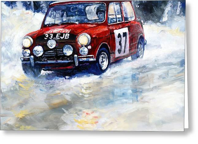 1964 Rallye Monte Carlo Mini Cooper S Hopkirk Liddon Winner Greeting Card by Yuriy Shevchuk