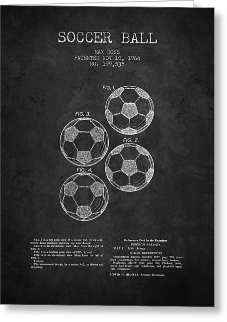 Soccer Drawings Greeting Cards - 1964 Soccer Ball Patent - Charcoal - NB Greeting Card by Aged Pixel