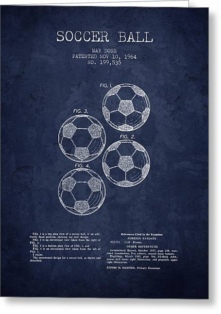 Soccer Drawings Greeting Cards - 1964 Soccer Ball Patent - Navy Blue - NB Greeting Card by Aged Pixel