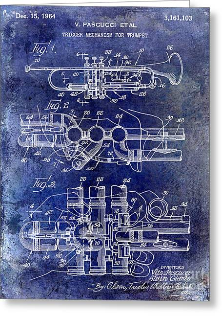 Philharmonic Greeting Cards - 1964 Trumpet Patent Blue Greeting Card by Jon Neidert