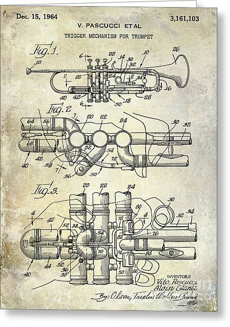 Philharmonic Greeting Cards - 1964 Trumpet Patent Greeting Card by Jon Neidert