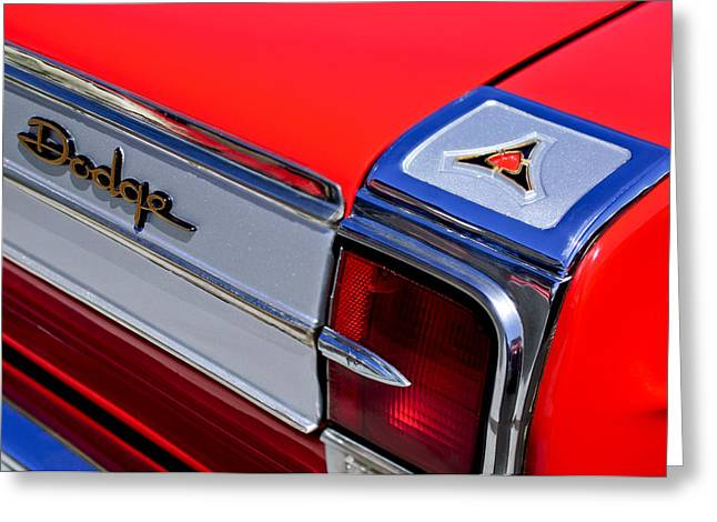1965 Greeting Cards - 1965 Dodge Coronet 500 Taillight Emblem Greeting Card by Jill Reger