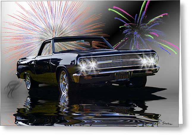 Flood Digital Greeting Cards - 1965 El Camino Greeting Card by Patricia Stalter