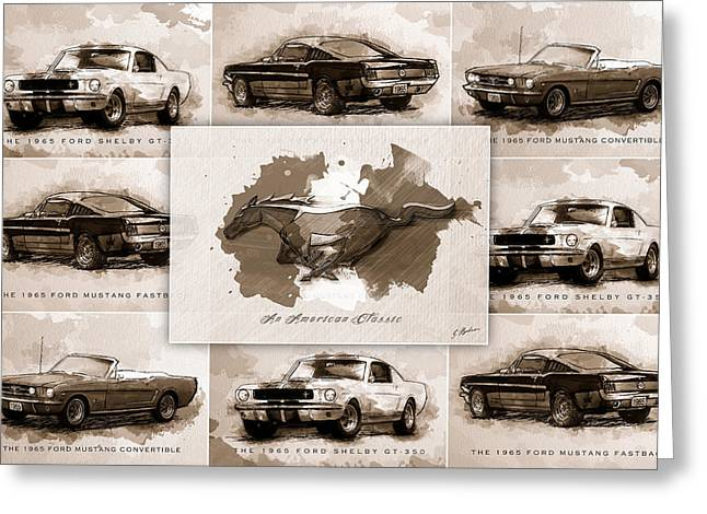 Vintage Auto Greeting Cards - 1965 Ford Mustang Collage I Greeting Card by Gary Bodnar