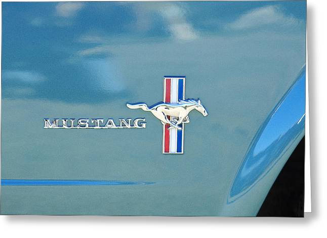 1965 Greeting Cards - 1965 Ford Mustang Emblem 6 Greeting Card by Jill Reger