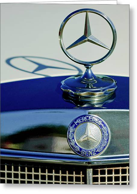 Car Mascot Greeting Cards - 1965 Mercedes 220 SE Cabriolet Hood Ornament Greeting Card by Jill Reger