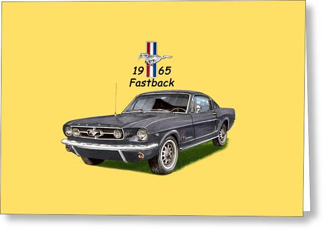 Mustang Fastbacks Greeting Cards - 1965 Mustang Fastback Greeting Card by Jack Pumphrey