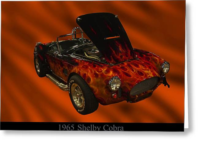 1960s Poster Art Greeting Cards - 1965 Shelby Cobra Greeting Card by Chris Flees