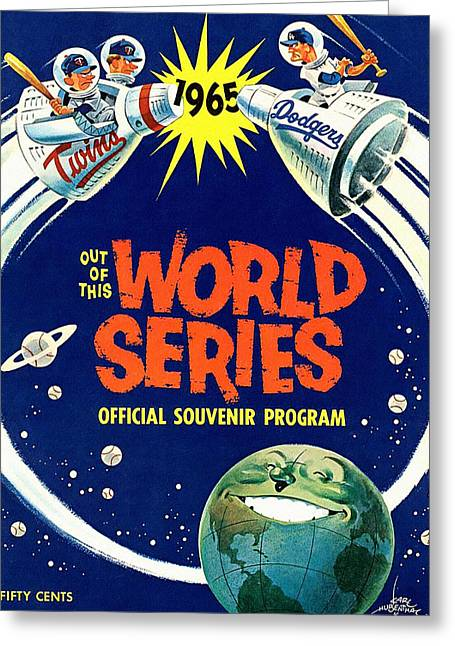 1965 World Series Twins V Dodgers Program Greeting Card by Big 88 Artworks