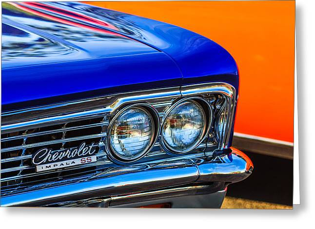 Famous Photographer Greeting Cards - 1966 Chevrolet Impala SS Grille Emblem -0978c Greeting Card by Jill Reger