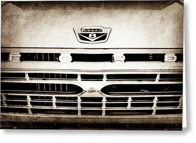 1966 Ford F100 Pickup Truck Grille Emblem -113s Greeting Card by Jill Reger