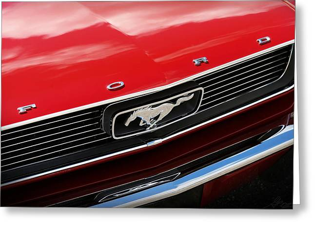 Chrome Emblem Greeting Cards - 1966 Ford Mustang Greeting Card by Gordon Dean II