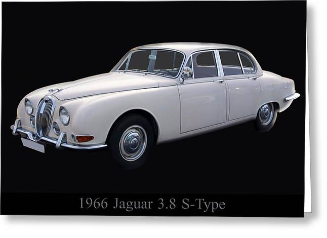 1960s Poster Art Greeting Cards - 1966 Jaguar 3.8 S Type Greeting Card by Chris Flees