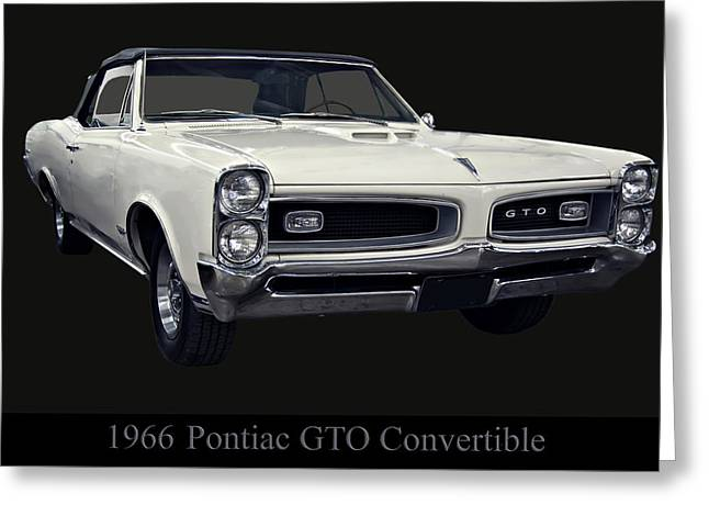 1960s Poster Art Greeting Cards - 1966 Pontiac GTO Convertible Greeting Card by Chris Flees
