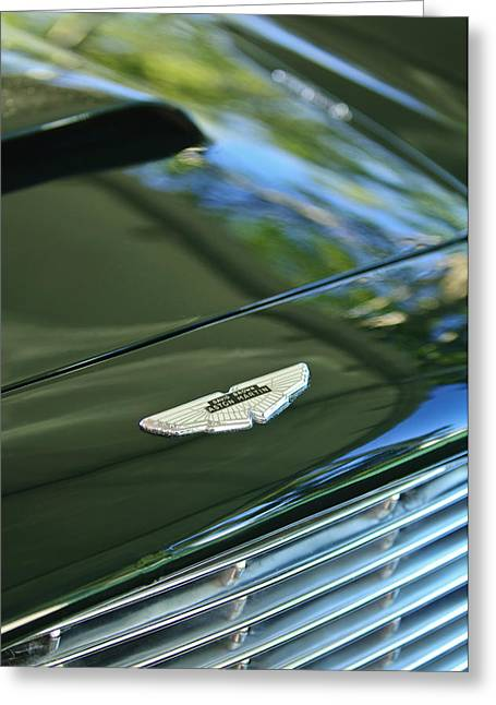1967 Greeting Cards - 1967 Aston Martin DB6 Coupe Hood Emblem Greeting Card by Jill Reger