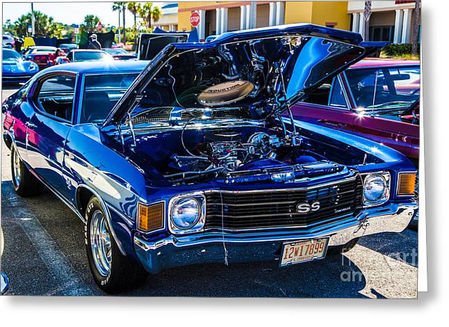 1967 Chevy Chevelle Ss Greeting Cards - 1967 Chevelle Blue Bird Greeting Card by Darrell Hutto