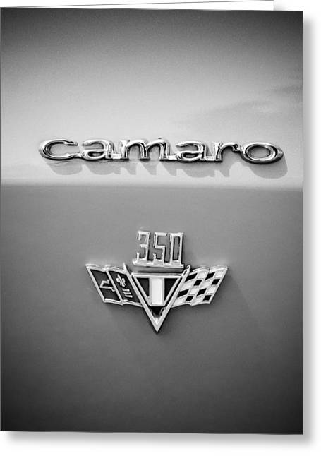 Famous Photographer Greeting Cards - 1967 Chevrolet Camaro 350 Emblem -0357bw45 Greeting Card by Jill Reger