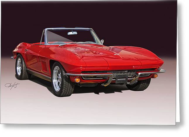 Rally Greeting Cards - 1967 Chevrolet Corvette Convertible Studio I Greeting Card by Dave Koontz