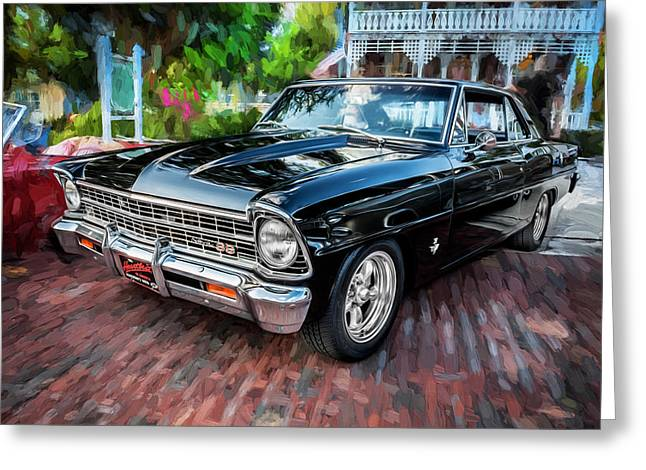 1967 Chevrolet Nova Super Sport Painted Bw 4 Greeting Card by Rich Franco