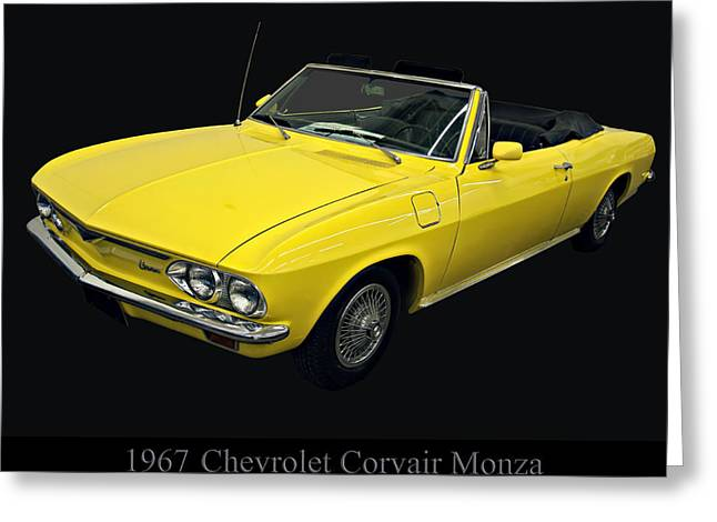 1960s Poster Art Greeting Cards - 1967 Chevy Corvair Monza Greeting Card by Chris Flees