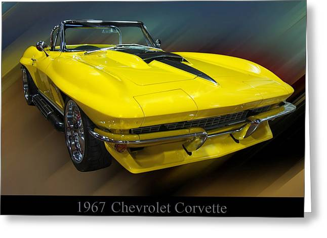 1960s Poster Art Greeting Cards - 1967 Chevy Corvette Convertible Greeting Card by Chris Flees