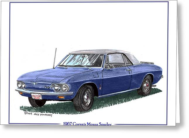 Traffic Control Paintings Greeting Cards - 1967 Corvair Monza Spyder Greeting Card by Jack Pumphrey