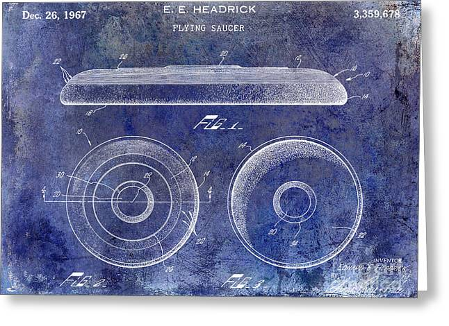 Flying Saucers Greeting Cards - 1967 Frisbee Patent Blue Greeting Card by Jon Neidert