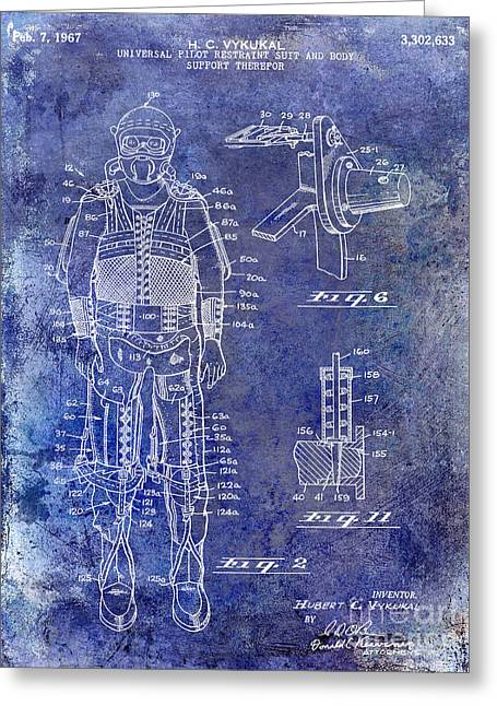 1967 Pilot G Suit Patent Blue Greeting Card by Jon Neidert