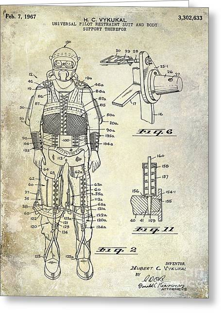 Neil Armstrong Greeting Cards - 1967 Pilot G Suit Patent Greeting Card by Jon Neidert