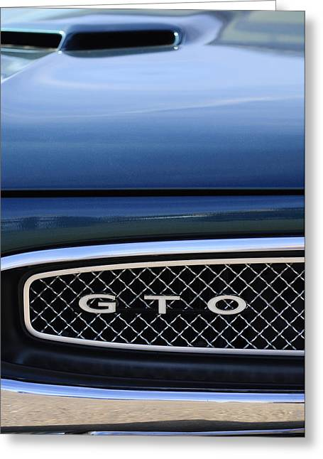 1967 Greeting Cards - 1967 Pontiac GTO Grille Emblem Greeting Card by Jill Reger
