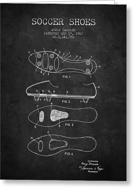 Soccer Drawings Greeting Cards - 1967 Soccer Shoe Patent - Charcoal - NB Greeting Card by Aged Pixel