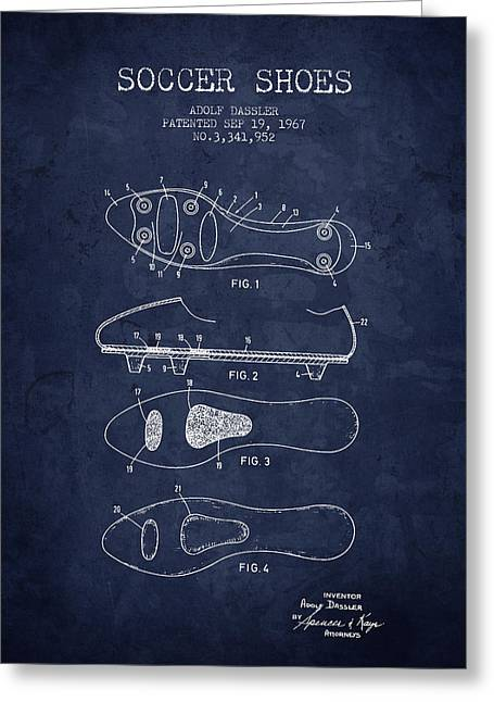 Soccer Drawings Greeting Cards - 1967 Soccer Shoe Patent - Navy Blue - NB Greeting Card by Aged Pixel