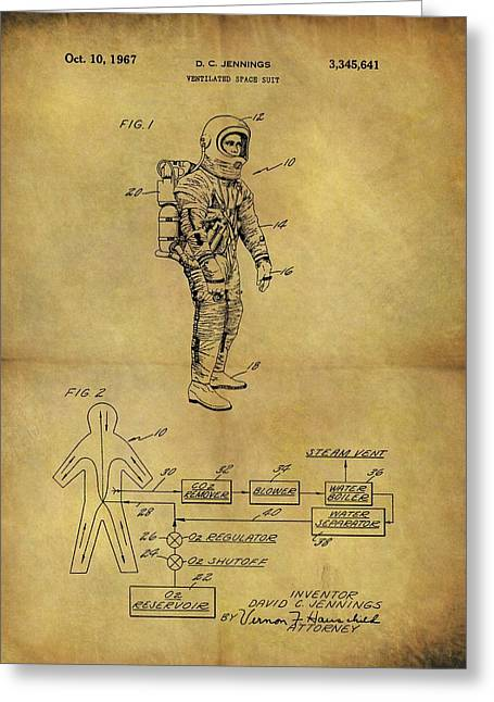 1967 Space Suit Patent Greeting Card by Dan Sproul