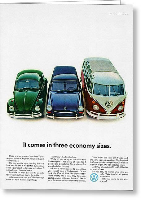 Three Sizes Greeting Cards - 1967 Volkswagen Beetle Squareback and The Box Greeting Card by Digital Repro Depot