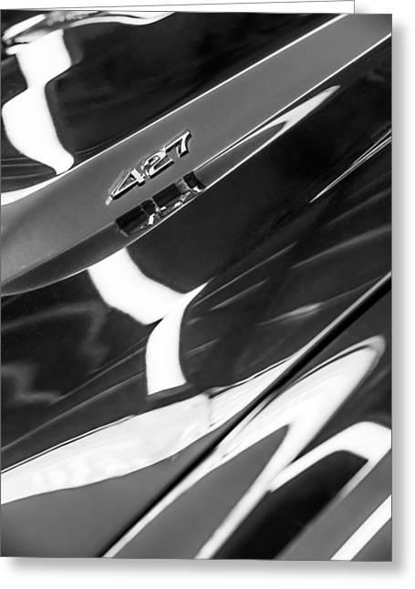 1968 Camaro Greeting Cards - 1968 Chevrolet Yenko Super Camaro 427 Hood Emblem -1805bw Greeting Card by Jill Reger