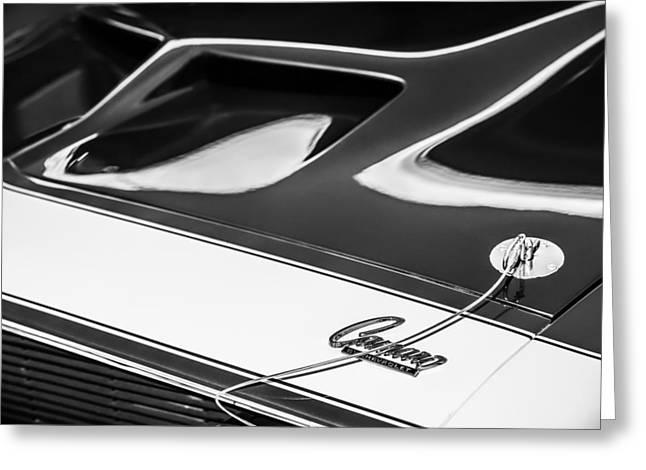 1968 Camaro Greeting Cards - 1968 Chevrolet Yenko Super Camaro Hood Emblem -1767bw Greeting Card by Jill Reger