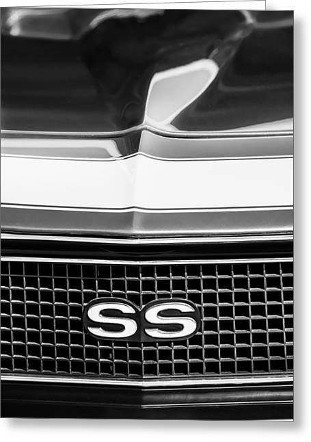 1968 Camaro Greeting Cards - 1968 Chevrolet Yenko Super Camaro SS Grille Emblem -1745bw Greeting Card by Jill Reger