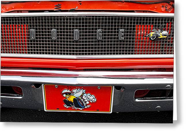 Dodge Super Bee Emblem Greeting Cards - 1968 Dodge Coronet Super Bee Greeting Card by Kristia Adams