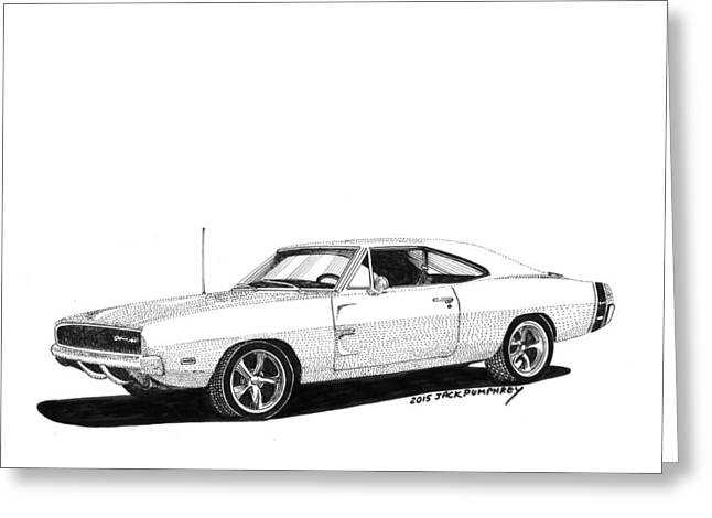 Art Of Muscle Greeting Cards - Dodge S R T 1968 Greeting Card by Jack Pumphrey